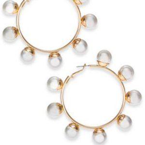 Thalia Sodi Gold-Tone/Faux Pearl Hoop Earrings